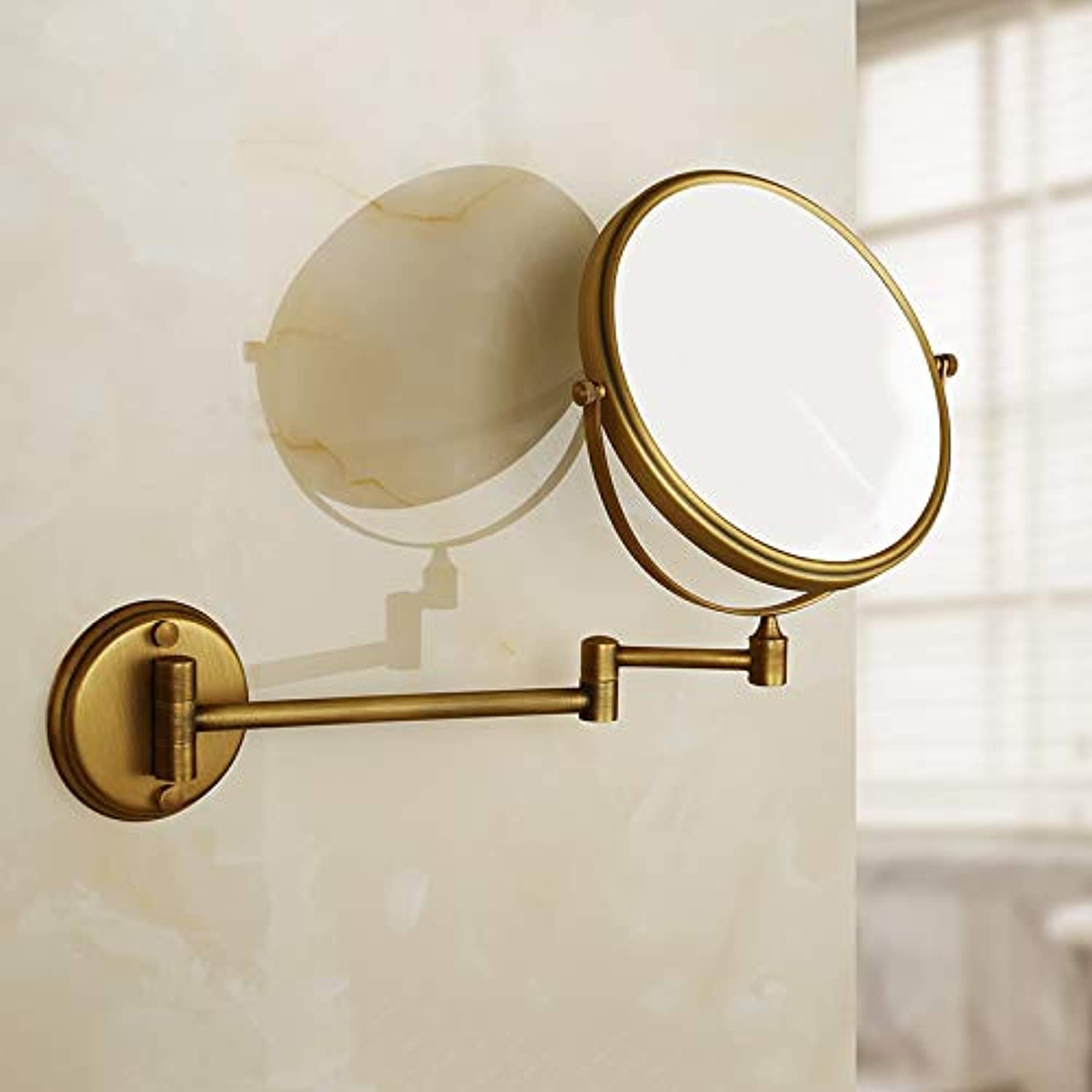 LUDSUY All Copper Beauty Mirror Beauty Mirror Antique Mirror Sided Mirror Magnifying Beauty Mirror, A