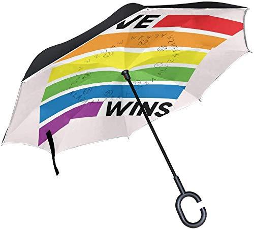 Love Wins Cita y Raindow resistente al viento invertido con cierre de apertura inversa y paraguas de lluvia de calidad al revés, resistente al agua, con gancho en forma de C