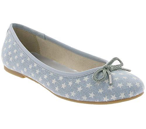 Tamaris Schuhe Slipper modische Damen Ballerinas mit Sternen-Muster Sommer-Schuhe Freizeit-Schuhe Hellblau, Größe:37
