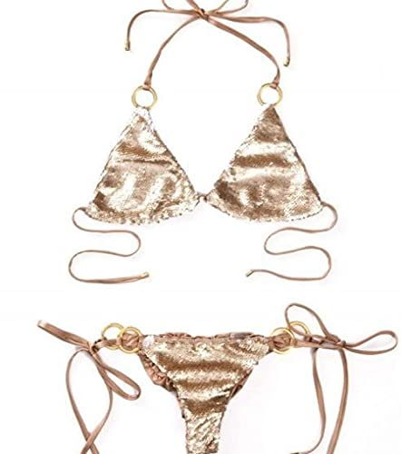 ZZLHHD Talle Alto Retro Sexy Traje De Baño,Sequential Split Swimsuit, Reverse and Back Sex-Brown_S,Bikini Mujer Conjunto Sexy