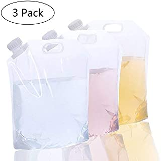 AMACASE [3 Packs] 5L Collapsible Water Container for Backpacking,Water Storage Container Water Carrier-Clear