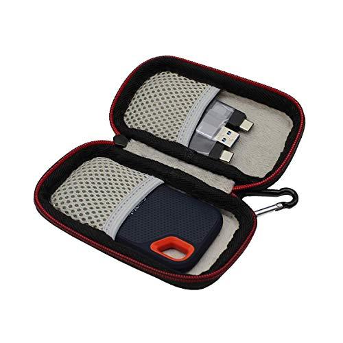 VIVENS Hart Tragbar Tasche Case Hülle für SanDisk Extreme Portable SSD 500GB 250GB 1TB 2TB (Schwarz)