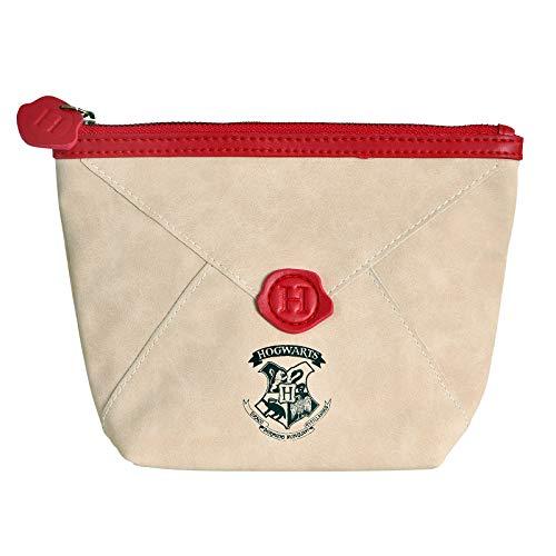 Elbenwald Borsa cosmetica Harry Potter Lettera Hogwarts 20x15x6,5cm Beige