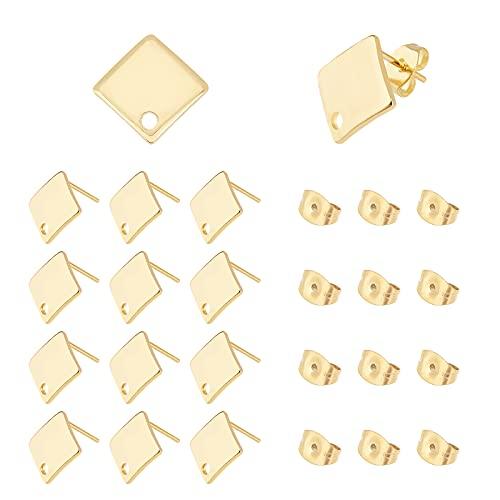 UNICRAFTALE Sobre 50 Uds.Pendiente de Botón de Rombo 304 Pendientes de Botón de Oro de Acero Inoxidable con Bucle Y Tuercas de Oreja de Mariposa Fornituras para Pendientes de Perno DIY Pin 0.8 mm