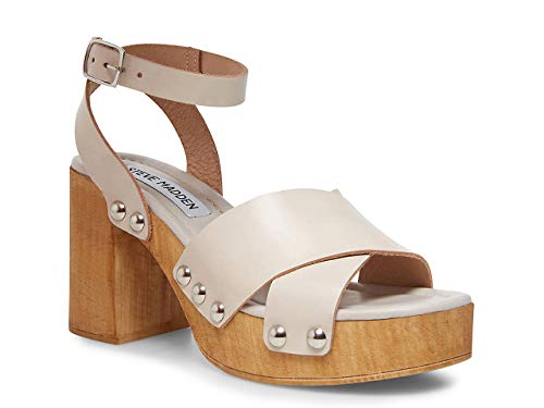 Steve Madden Masha Platfrom Taupe Leather Wooden Clog Platfrom Sandals (9)