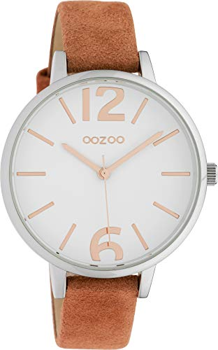 Oozoo Damenuhr mit Lederband 38 MM Weiß/Orange C10435