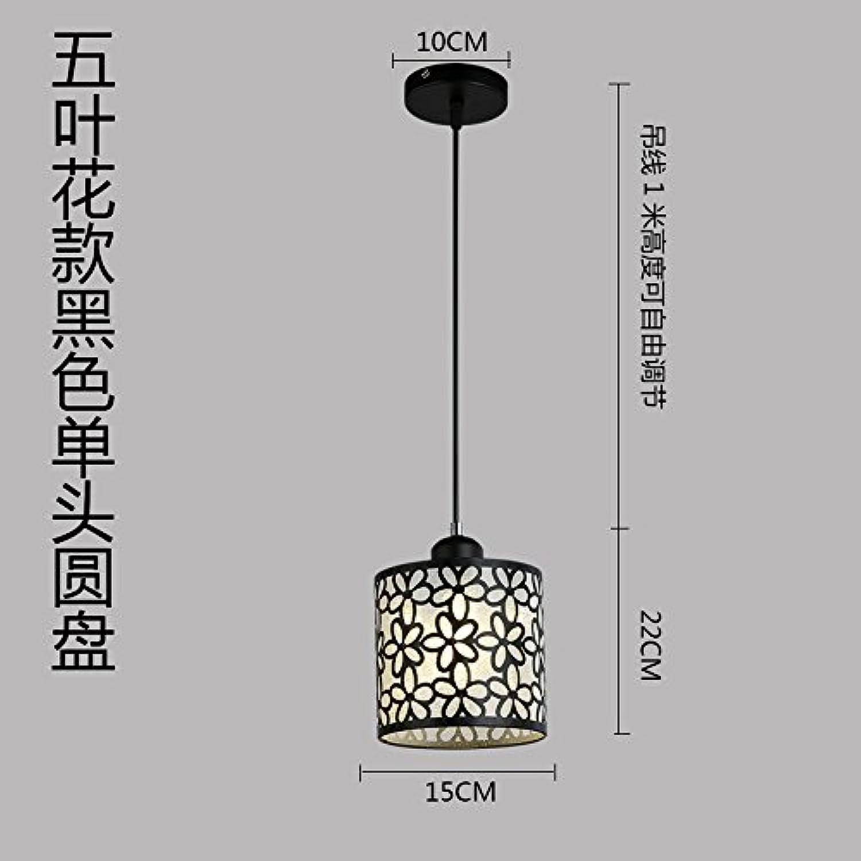 Luckyfree Moderne, einfache Eisen Pendelleuchte Zimmer Bar Cafe Restaurant Küche Flur Lampen Deckenleuchte Kronleuchter, einem Kopf Flower schwarz +9 W-LED