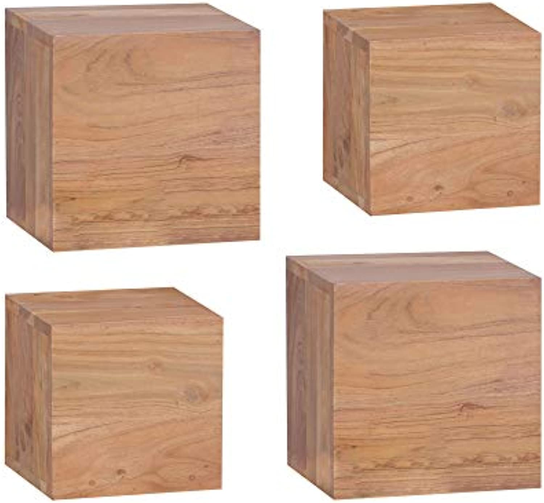 FineBuy 4er Set Wandregale Massivholz Akazie Holzregal Landhaus-Stil Hngeregal 25cm 20cm Echt-Holz Wandboard Natur-Produkt Wandkonsole dunkel-braun unbehandelt Regale zum Aufhngen Unikat Ablage