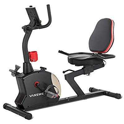 Vanswe Recumbent Exercise Bike 400 lbs. Magnetic Tension Resistance Stationary Recumbent Bike with Adjustable Seat, Transport Wheels, Water Bottle Holder, Pulse Monitor and Bluetooth Connectivity App for Adults Seniors Workout and Physical Therapy (Red/Bl