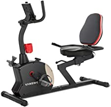 Vanswe Recumbent Exercise Bike 400 lbs. Magnetic Tension Resistance Stationary Recumbent Bike with Adjustable Seat, Transport Wheels, Water Bottle Holder, Pulse Monitor and Bluetooth Connectivity App for Adults Seniors Workout and Physical Therapy (Red/Black)