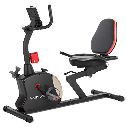 Vanswe Recumbent Exercise Bike for Adults Seniors Home Cardio Workout and Physical Therapy with 400 lbs. Capacity, Magnetic Tension, Water Bottle Holder, Pulse Monitor and Bluetooth Connectivity App