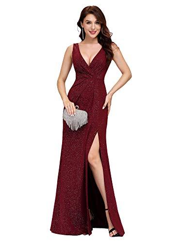 Ever-Pretty Vestito da Sera Donna Lungo Elastico Brillante Spaccato V-Collo Borgogna 36