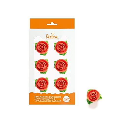 Decora 6 Rosa De Azúcar Rojo 60 g
