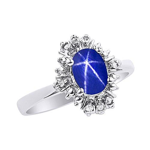 Diamond & Blue Star - Juego de anillos de zafiro en oro blanco de 14 quilates con diamantes