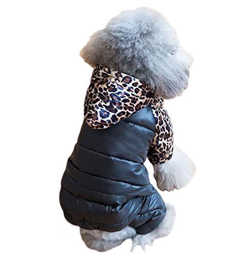 ZJEXJJ Puppy Kleidung Winter dicken Baumwollmantel Teddy weiblichen Herbst und Winter tragen kleine Hund Haustier vierbeinige Daunenjacke (Farbe : SCHWARZ, größe : S)
