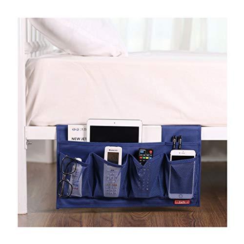 Zafit 6 Pockets Bedside Storage Organizer, Table cabinet Storage Organizer Bedside Organizer Caddy for Remotes Phone Glasses (Blue)