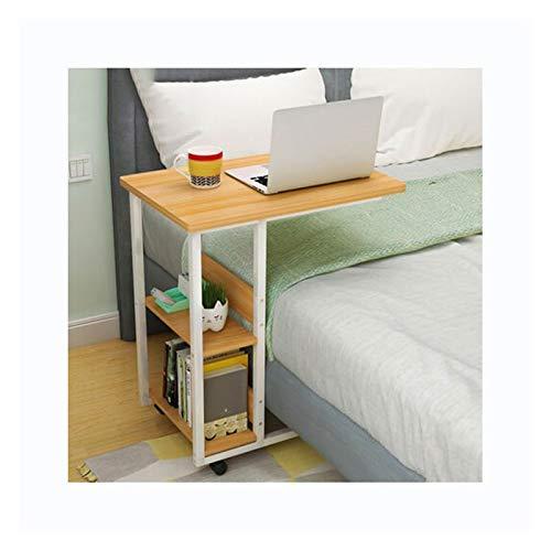 ALBBMY Mesa sobrecama sobre ruedas, 2 estantes de almacenamiento para libros, portátil, portátil, escritorio, bandeja de TV, sofá, escritorio móvil (color: 60 cm Niamey nogal)