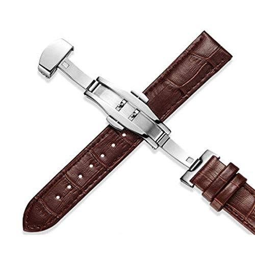 Correas de cuero Correa de reloj 18 mm 20 mm 22 mm Hombres Mujeres Accesorios de reloj Negro Marrón Hebilla de mariposa Bandas de reloj -M-Brown_22mm