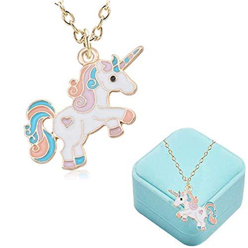 Collana per Bambini Unicorno Ragazze Rainbow Cloud Gioielli Regalo di Unicorno per Teenager Bambini Natale Ringraziamento Halloween con Confezione Regalo