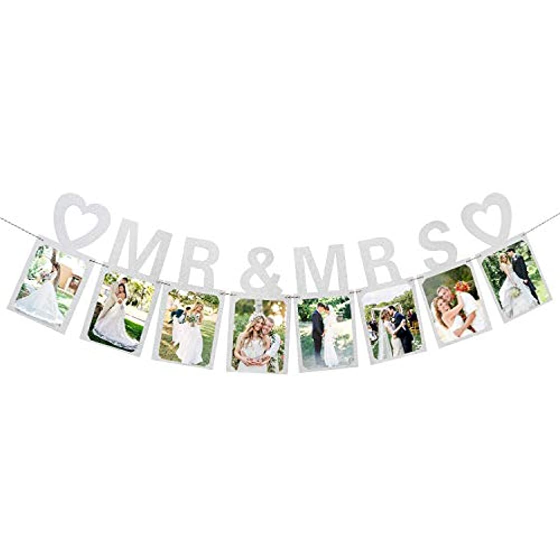 Mr and Mrs Photo Banner Wedding Anniversary Bunting Funny Bride and Groom Party Decorations Silver