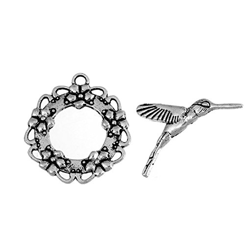 JGFinds Flower and Hummingbird Bracelet Toggle Clasps - 10 Sets of Silver DIY Jewelry Making Supplies
