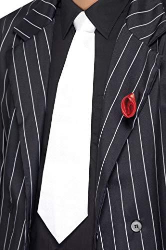 Smiffy's - Corbata de gánster en elástico, blanco (22872)