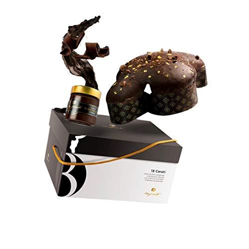 Colomba al Cioccolato Fondente, Decorazione Oro, lievitazione Naturale, 1 kg - con vasetto di Crema al Cioccolato di Modica, 220g