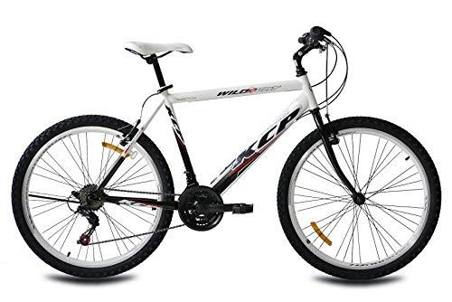 KCP 26 Zoll Mountainbike Herrenfahrrad - Wild Cat HF Gent MTB Weiss schwarz - Mountain Bike für Herren und Jungen - MTB Hardtail mit 18 Gang Shimano Schaltung