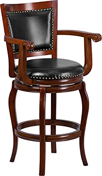 Emma Oliver 30 H Cherry Wood Panel Back Swivel Barstool With Arms