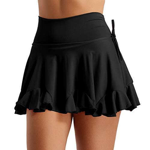 MSemis Falda Baile Latino Salsa Tango para Mujer Falda Volante Chica Falda Corta con Pantalón Samba Ropa Bailarina Danza Rumba Fiesta Redimiento Negro S