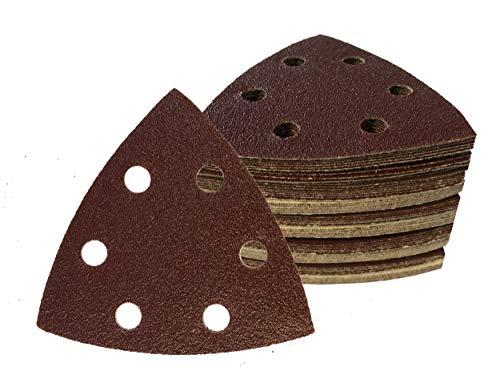 50Pieza triángulos de Lija con Velcro 93x 93x 93mm, Grano 60para lijadora Delta de 6Agujeros
