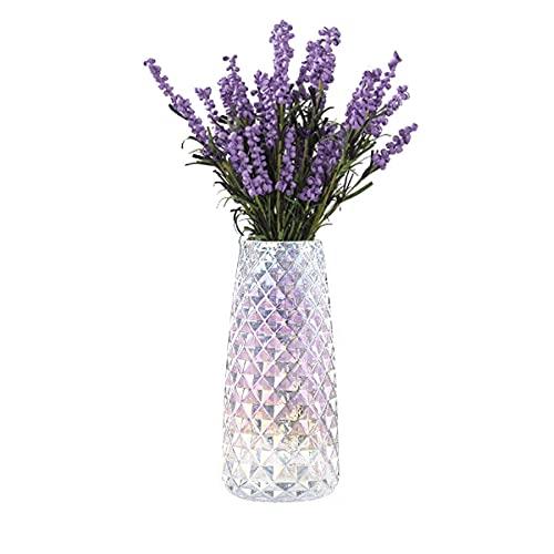 FuTaiKang Jarrón decorativo de cristal transparente de 22 cm, florero moderno para...