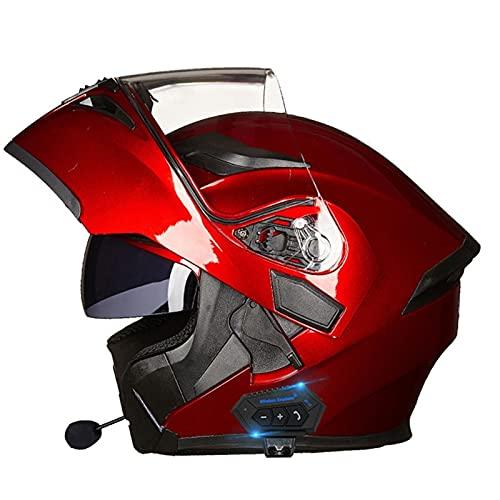 NS Casco Integral Motocicleta Bluetooth Modular Cara Completa, Media Cara, Abatible, Doble Visor, ABS Ligero, Bicicleta Calle, Deportes Turismo, Aprobado por Dot (Color : C, Size : M)