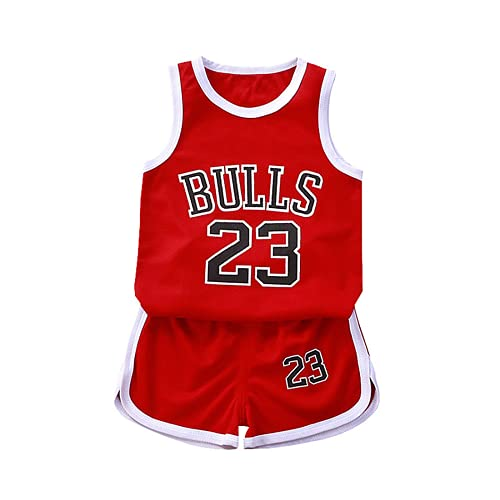 TYTF Conjunto de camiseta de baloncesto sin mangas para bebé, de malla, uniforme, camiseta y pantalones cortos, para verano, de 1 a 7 años Serie 1 90 cm
