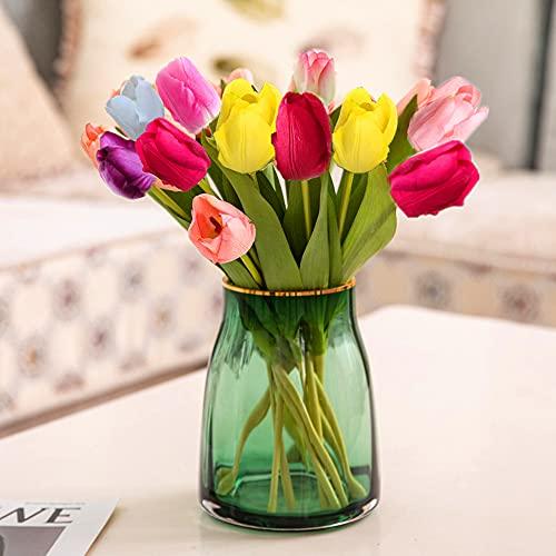 10 Piezas de Flores de Tulipanes Artificiales, Flores de Seda Falsas realistas...