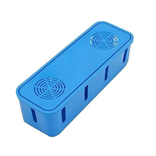 Scatola per la gestione dei cavi da tavolo con presa di corrente, organizer per casa e ufficio, colore blu