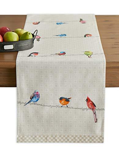 Maison d' Hermine Birdies on Wire Camino de mesa de algodón 100 % para fiestas, cenas, días festivos, cocina, primavera/verano (50 cm x 150 cm)