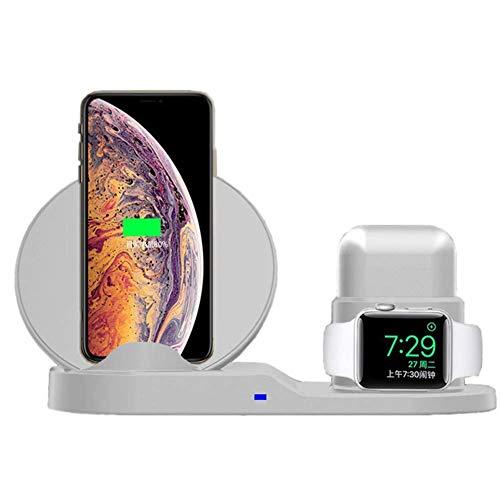 Estación De Carga Inalámbrica 3 En 1 Base De Carga con Base Compatible con La Serie iPhone XS/XR/X/Iwatch Adecuada para Todos Los Dispositivos Compatibles con Qi B