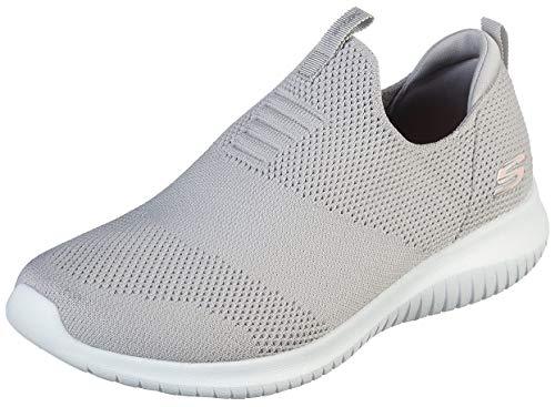 Skechers Women's Ultra Flex-First Take Sneaker, Light Grey, 8 M US
