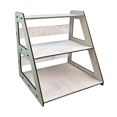 Wooden Portable Retail Table Display Stand - Countertop 3 Step - Open Shelf Riser -Floating Shelves - Perfect for Craft Shows, Farmers Markets and Tradeshows | Easy to Assemble | No Hardware Flat Pack