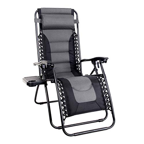 MFSTUDIO Zero Gravity Chair Large Portable Patio Recliners Adjustable Padded Folding Chair with Cup...