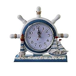 KODORIA Wheel Wall Clock Decoration Nautical Anchor Boat Steering Wheel Time Clock Table Decor - Ship