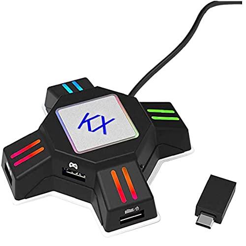 RRunzfon Conmutador Teclado ratón y Adaptador del convertidor del regulador Gamepad KX convertidor Accesorios Juego para PS3 PS4 Xbox Negro, Enlace Dedo del Joystick