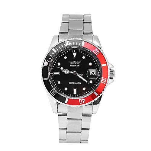 DAUERHAFT Reloj mecánico automático Masculino de 3 Colores, con Pantalla de 12 Horas, Reloj de Pulsera con Banda de Acero Inoxidable, para Diversos atuendos y Ocasiones(Negro Rojo)