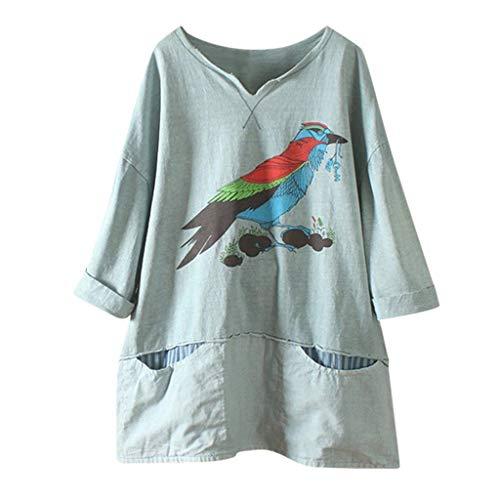 TUDUZ Blusa Mujer Manga Larga Camisa Pájaro De Dibujos Animados Impreso Camiseta Lino Tops Bolsillo (Verde, M)