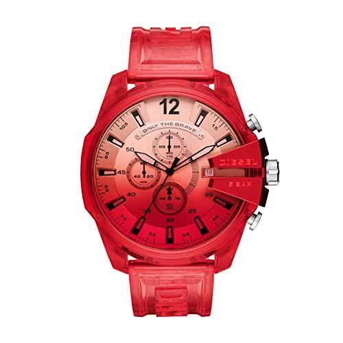 Diesel Reloj Analógico para de los Hombres de Cuarzo con Correa en plástico, Rojo DZ4534
