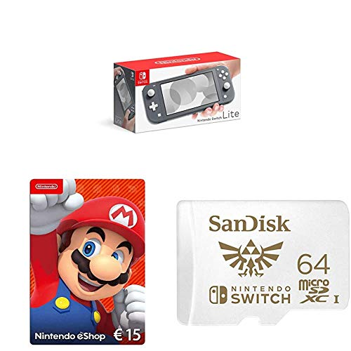 Nintendo Switch Lite, Standard, grau + Nintendo eShop Card   15 EUR Guthaben   Download Code + SanDisk microSDXC UHS-I-Karte für Nintendo Switch 64 GB