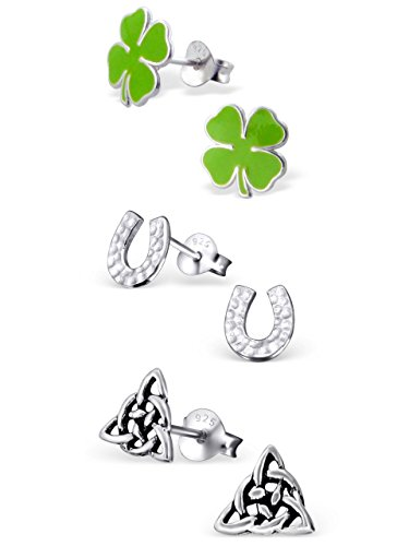 ICYROSE 925 Sterling Silver Set of 3 Pairs St. Patrick's Day Green Four Leaf Clover, Horseshoe, Celtic Trinity Stud Earrings for Girls and Womens (Nickel Free) 20509