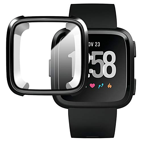 [New Version] Case for Fitbit Versa,Soft TPU Protective Full Cover Shell Bumper Case Protector for Fitbit Versa Smart Watch - Black