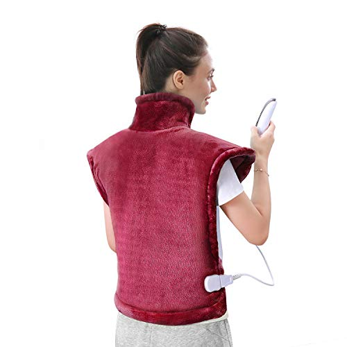 """Large Heating Pad for Neck, Back and Shoulder, 24""""x33"""" Heat Wrap with Fast-Heating and 5 Levels Temperature Settings, 2 Hours Auto Shut Off, Machine Washable - Red"""